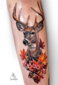好看的小鹿头主题刺青纹身图片