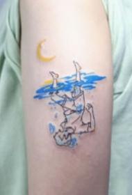一组忧郁蓝色的抽象小纹身图片