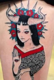 日式恐怖风格的9张女郎纹身图片