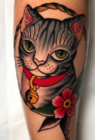 oldschool小猫咪纹身 school风格的9款猫主题纹身图片