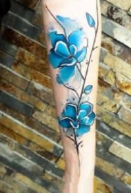蓝色水墨纹身 漂亮的9款蓝色水彩泼墨纹身图案