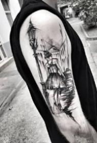 另类的手臂点线黑灰纹身图片
