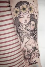 适合萌妹纸的卡通小姑娘纹身图片