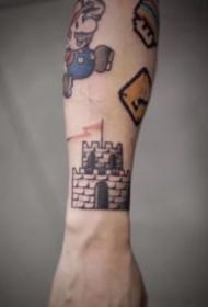 非常有创意的小彩色拼接纹身图案