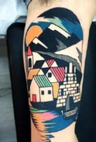 抽象拼接风格的彩色几何纹身图片