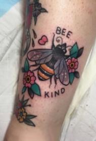 小清新彩色的蜜蜂纹身图案