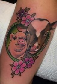 萌萌哒可爱小猪纹身图案