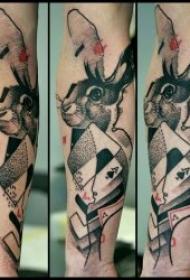 可爱乖巧的兔子纹身图案