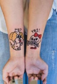 成对的卡通风格情侣纹身图案