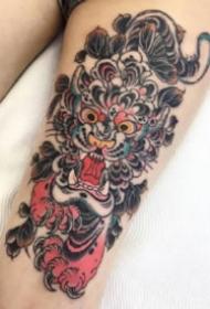 漂亮的oldschool日式纹身小动物头纹身图片