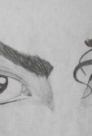 10款黑灰色调神秘的眼睛主题纹身图案