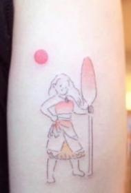 温暖的卡通风格简笔纹身图案
