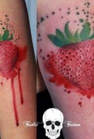 造型别致的草莓纹身图案