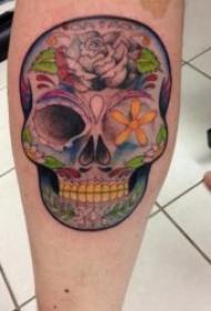 另类荒诞的骷髅头纹身图案
