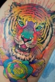 凶猛霸气的老虎头纹身图案