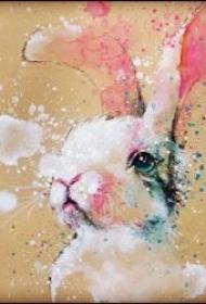 可爱的小兔子纹身图案
