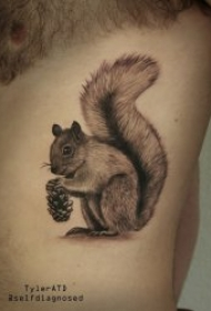 可爱呆萌的松鼠纹身图案