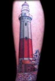指引方向的灯塔纹身图案欣赏