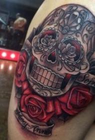 彩色有创意的花骷髅头纹身图案