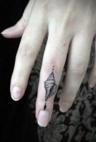 简单的黑色手指头纹身图案