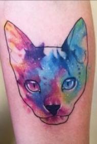 各种风格的可爱猫咪纹身图案