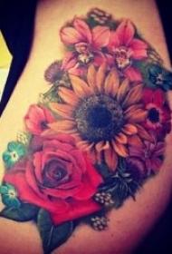 10款彩绘向日葵主体纹身图案