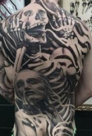 色调沉闷惊悚的骷髅人物纹身图案
