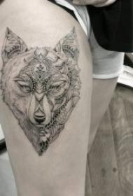 霸气冷漠的狼头纹身图案