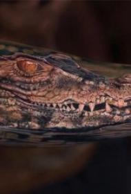 凶猛残忍的鳄鱼纹身图案
