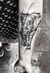 黑灰点线线条的纹身动物图案精选