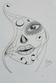 铅笔素描黑灰线条纹身图片