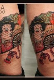 10张日本艺妓扇子纹身图案