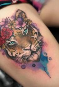 好看漂亮的彩色泼墨纹身图案