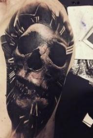 十分恐怖的写实骷髅纹身图案