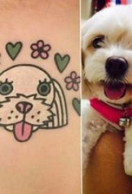 可爱的猫狗简笔画纹身图案