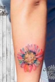 黑灰或彩绘的向日葵纹身图案