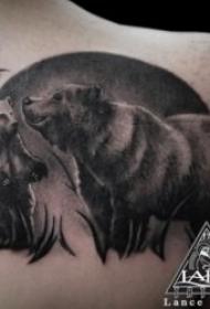 凶猛有创意的熊纹身图案