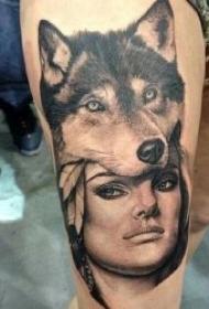生动逼真的人物肖像纹身图案