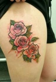 好看关于玫瑰花的纹身图案