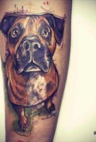 不同品种的小狗纹身图案合集