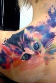 独立而高冷的猫咪纹身图案