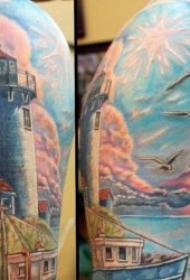 象征光明和方向的灯塔纹身图案