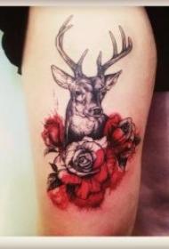 漂亮温顺的小鹿纹身图案