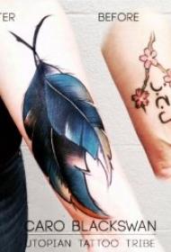 关于羽毛的水彩纹身图案