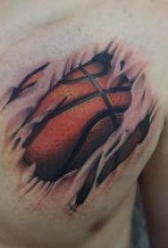 适合体育爱好者的篮球纹身图案
