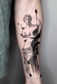非常酷的抽象笔触水墨涂鸦纹身图案