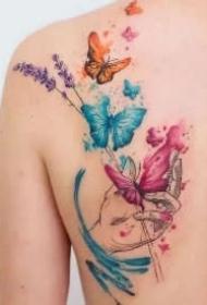 小清新的水彩蝴蝶纹身图案精选