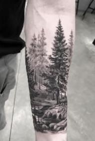 黑色森林风景包臂纹身图案