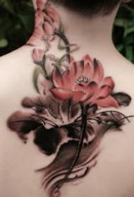 纹在身体不同部位的莲花纹身图案