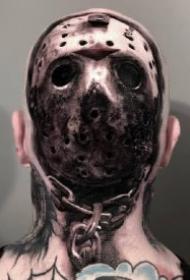 头部后面惊悚的黑灰纹身图案